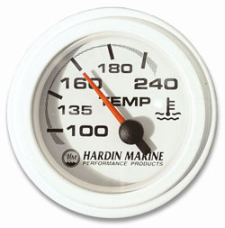 "2"" Water Temperature Gauge, 240 Deg. - White, Black or Stainless"
