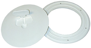 Beckson Screw Out Deck Plate With Standard Trim Ring, Dimple Center