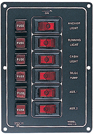 6 Switch Illiminated Switch Panel, Vertical