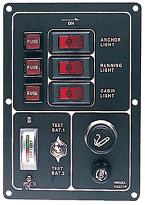 3 Switch Illiminated Switch Panel, Vertical W/Cigarette Lighter & Battery Meter
