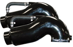 Pair Of Polished Standard Dimension Bravo Wet Offshore Tailpipes
