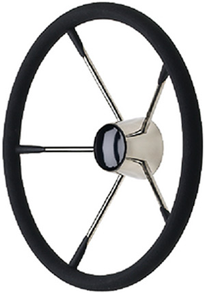 "Seachoice 15"" Stainless Steel Destroyer Wheel With Permanent Foam Grip & Black Center Cap"""