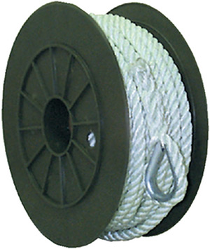 3-Strand Twisted Nylon Anchor Line<BR>White, 3/8&quot; x 150&quot;