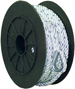 Premium 3-Strand Twisted Nylon Anchor Line<BR>White With Blue Tracer, 3/8&quot; x  50'