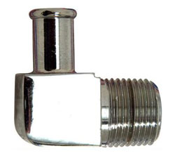 "90 Degree Chrome Plated Brass 1/2"" NPT Male To 1/2"" Hose Fitting"