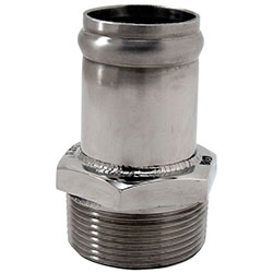 "Custom Handcrafted Stainless Fitting 1-1/2"" NPT To 1-1/2"" Hose Straight"
