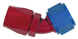 Red/Blue 45 Degree Non-Swivel AN Hose End