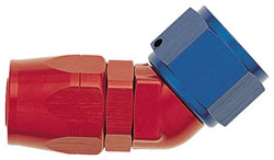 Red/Blue 45 Degree Double-Swivel Forged AN Hose End