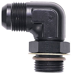 90 Degree Non-Swivel AN Flare to AN O-Ring Boss