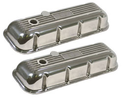 Big Block Chevrolet Finned Aluminum Valve Covers, Polished