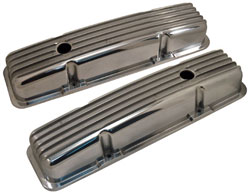 Finned Aluminum Valve Covers, Small Block Chevy, Polished