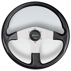 "Corse Silver Aluminum Spoke Steering Wheel, 13.8"" Diameter, Black Grip"