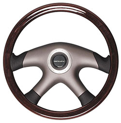 Polished Mahogany Steering Wheel, 14.1