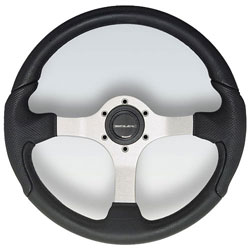 "Nisida Silver Aluminum Spoke Steering Wheel, 13.8"" Diameter, Black Grip"