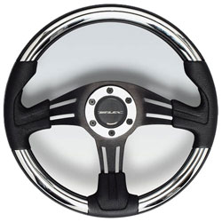Vivara Steering Wheel, Black Aluminum Chrome Inserts 13.8