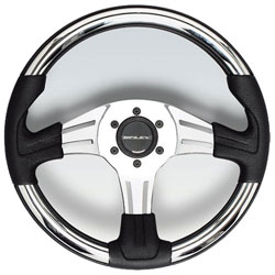 Vivara Steering Wheel, Polished Silver Aluminum  Chrome Inserts 13.8