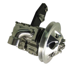 "2 Stage Stainless Steel Sea Pump with 1 Groove Pulley, 1-1/4"" NPT Center Inlet & Dual 1"" NPT Outlets"
