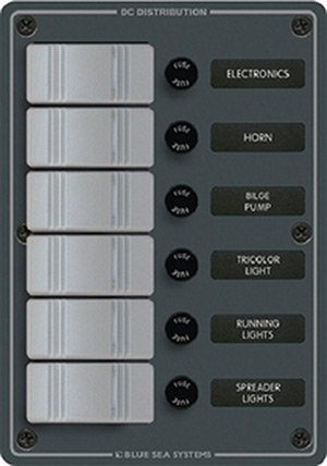Blue Sea Systems 8053 Contura Water Resistant 12v Dc 6 Position Panel, Gray