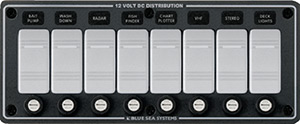 Blue Sea Systems 8261 Contura Water Resistant 12v Dc 8 Position Panel, Gray