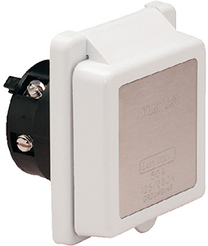Marinco 50 Amp 125v Power Inlet With Stainless Steel Trim Without Rear Safety Enclosure