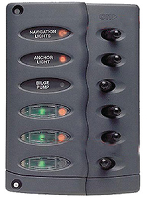 Marinco Contour Switch Panel Includes 6 Switches And 3 Inline Fuse Holders