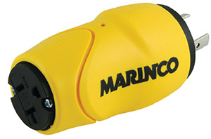 Marinco S20-15 (Old 80a) Straight Adapter Dock Side Male 20a/125v Locking To Boat Side Female 15 Or 20a 125v Straight Blade
