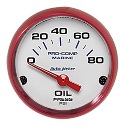 "2-1/16"" Auto Meter Pro-Comp Phantom Marine Gauges - Custom Colored Rims"