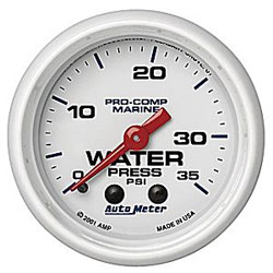 "Autometer 2-1/16"" Mechanical Water Pressure 0-35 PSI"