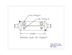 Perkins Dual Oil Cooler 2 x 10 x 1-1/4H x 3/8F. Must have customer core.