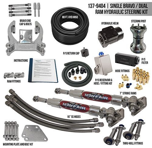 Mayfair Single Bravo/Dual Ram Full Hydraulic Steering Kit