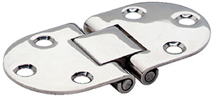 "Attwood Flush Hinge, Round End, Stamped Stainless Steel 3"" x 1-1/2"""