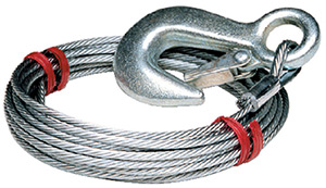 Tie Down Engineering Galvanized Steel 7 x 19 Winch Cable With Galvanized Latch Hook