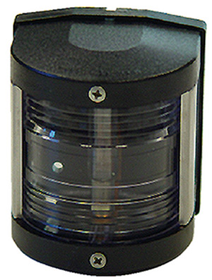 Aqua Signal 25500 Series 25 Classic 12v Navigation Light For Power Or Sail Boats Up To 39', Stern Side Mount, Black