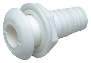 "1-1/8"" White Plastic Thru-Hull w/Broad Flange"""