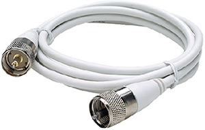 Seachoice RG58U White Coaxial Antenna Cable Assembly Includes PL259 Fittings on Both Ends