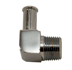 "90 Degree Chrome Plated Brass 1/4"" x 3/8"" Hose Fitting"