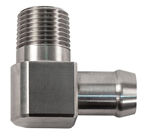 "90 Degree Chrome Plated Brass 1/2"" NPT Male To 5/8"" Hose Fitting"