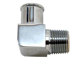 "90 Degree Chrome Plated Brass 1/2"" NPT Male To 3/4"" Hose Fitting"
