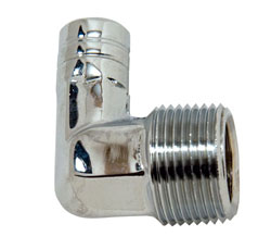 "90 Degree Chrome Plated Brass 3/4"" NPT Male To 5/8"" Hose Fitting"