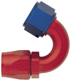 Red/Blue 150 Degree Non-Swivel Hose End