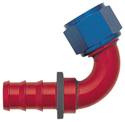 Blue/Red 120 Degree Push-On Hose End