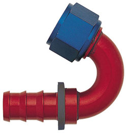 Blue/Red 150 Degree Push-On Hose End