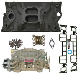 Small Block Chevy HP-Plus Intake Manifold, Carburetor and Gaskets Kit