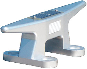 "Dock Edge Solar Rechargeable Dock Cleat 10"" Cast Aluminum Alloy With Replaceable Battery"""
