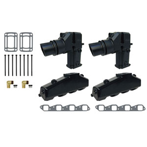 Exhaust Manifold Kit w/ Hi-Rise Single-Piece Elbow - GM V8 454/502 CID (1991 & Up)
