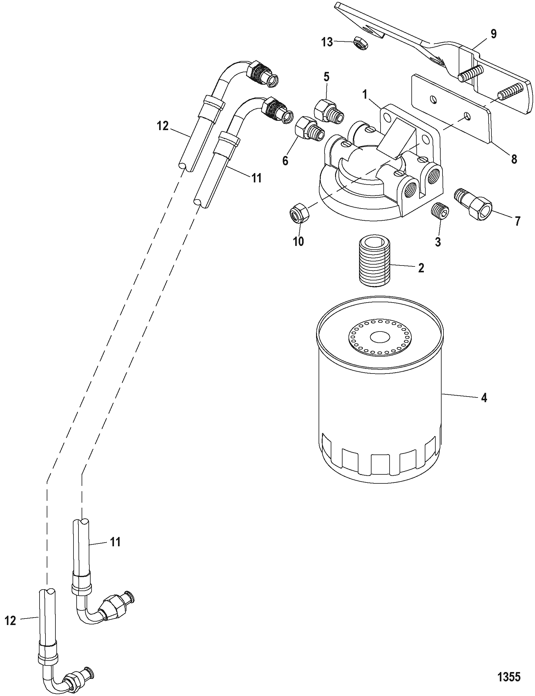 Hardin Marine Fuel Filter Alpha Boat Filters Section Drawing Hover Or Click To View Larger