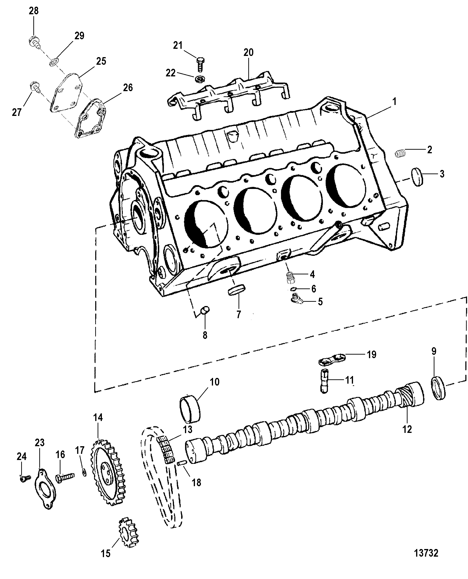 Hardin Marine - Cylinder Block And Camshaft (Roller Lifters) on