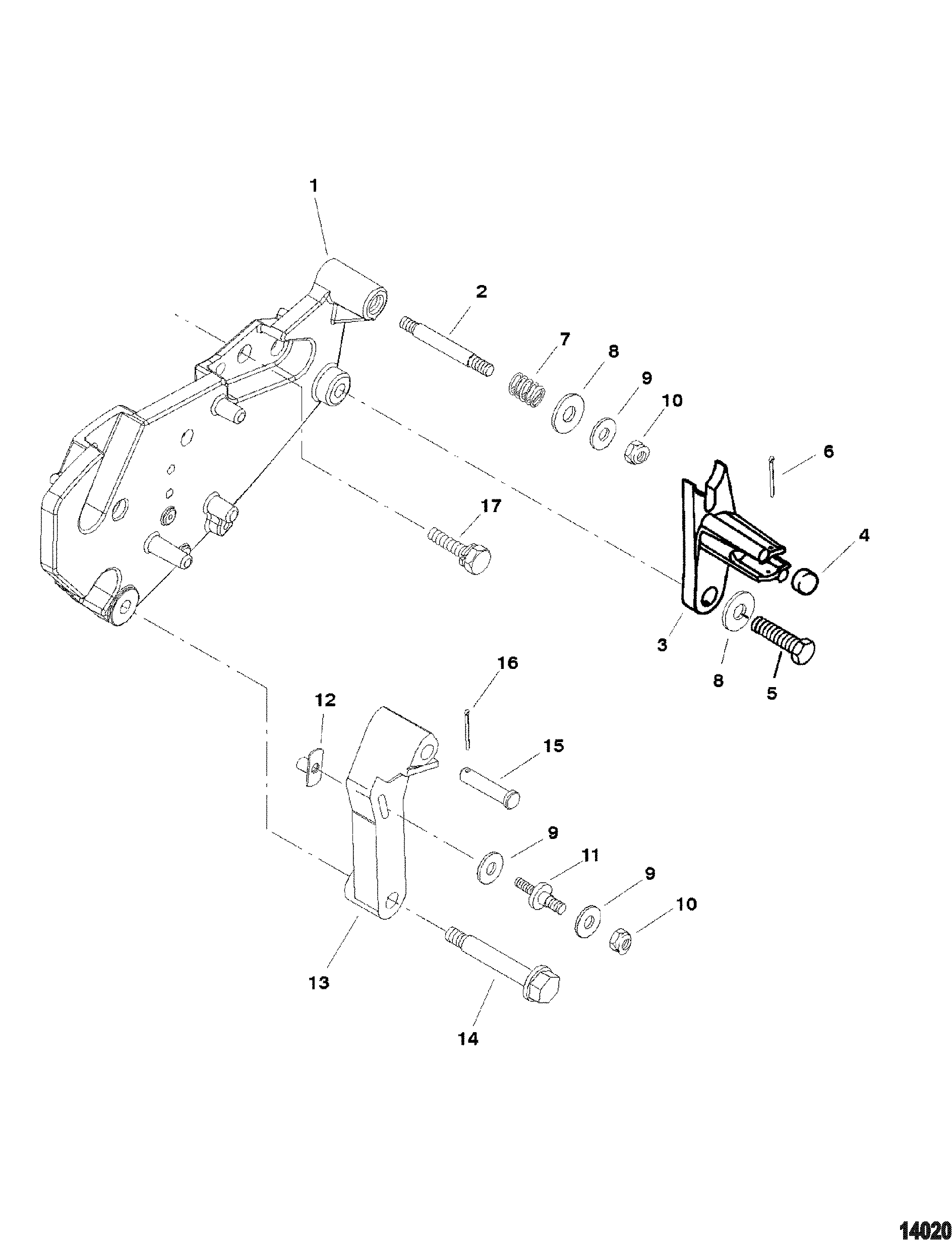 5 7l (2 bbl) gm 350 v-8 1998-2001 - serial 0l010037 thru 0m599999 - shift  bracket (bravo engines)