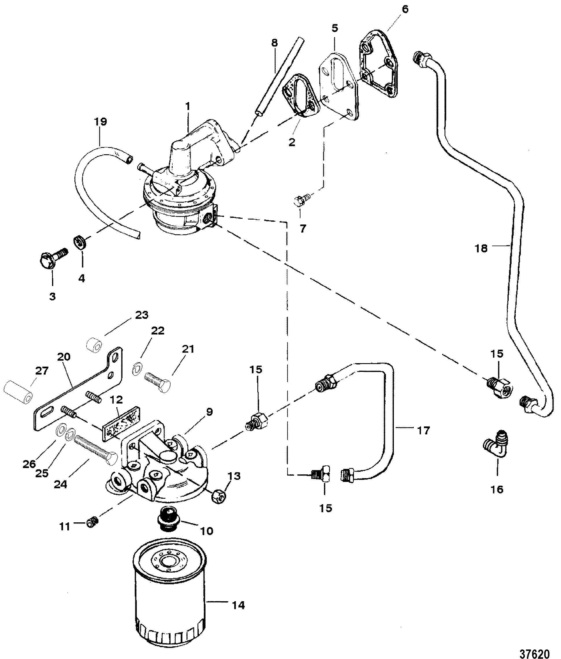Hardin Marine Fuel Pump And Filter 350 Mercruiser Engine Diagram 57l Gm V 8 1988 1995 Serial 0b525982 Thru 0f600999