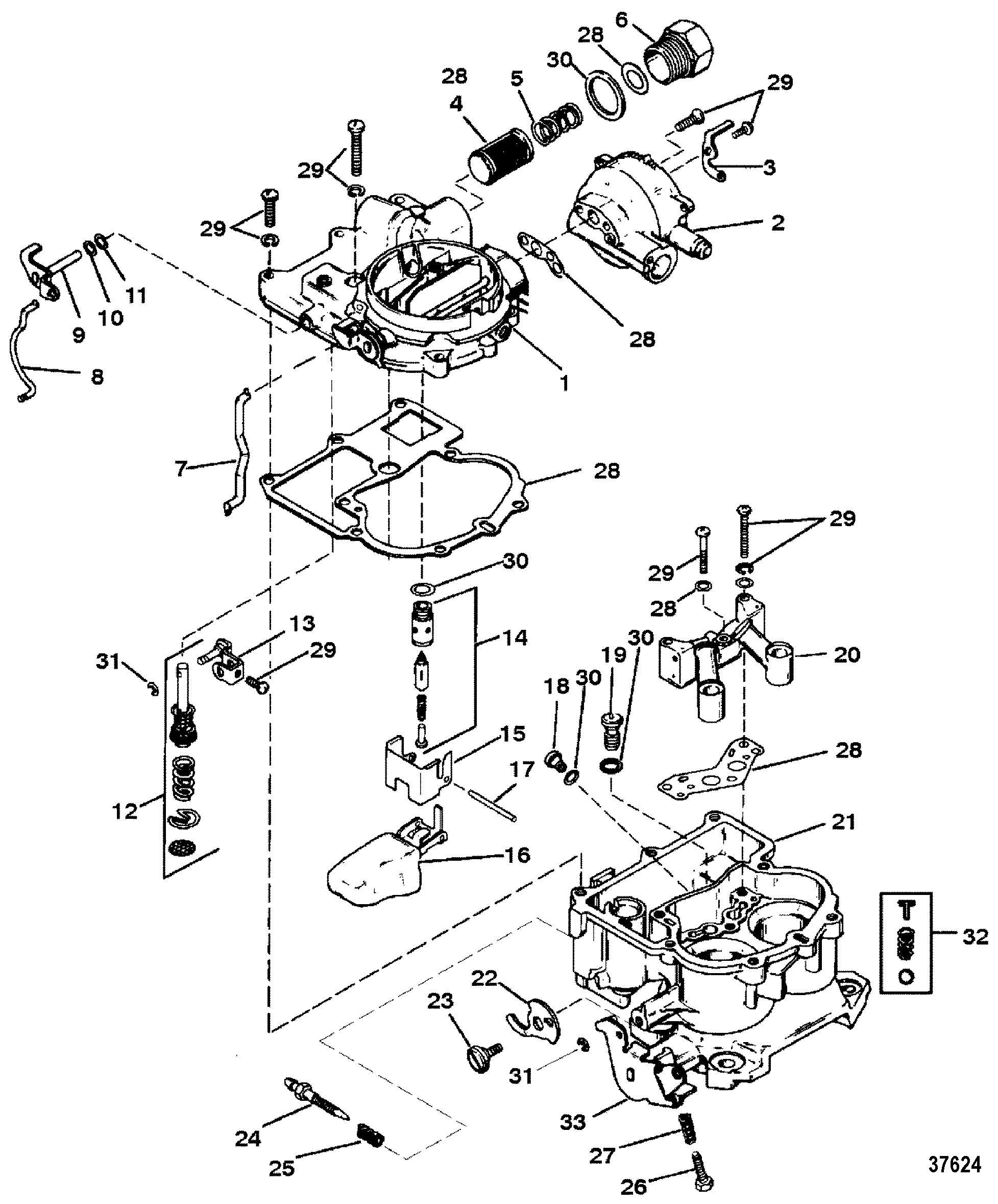 hardin marine carburetor mercarb 2 barrel  section drawing hover or click to view larger